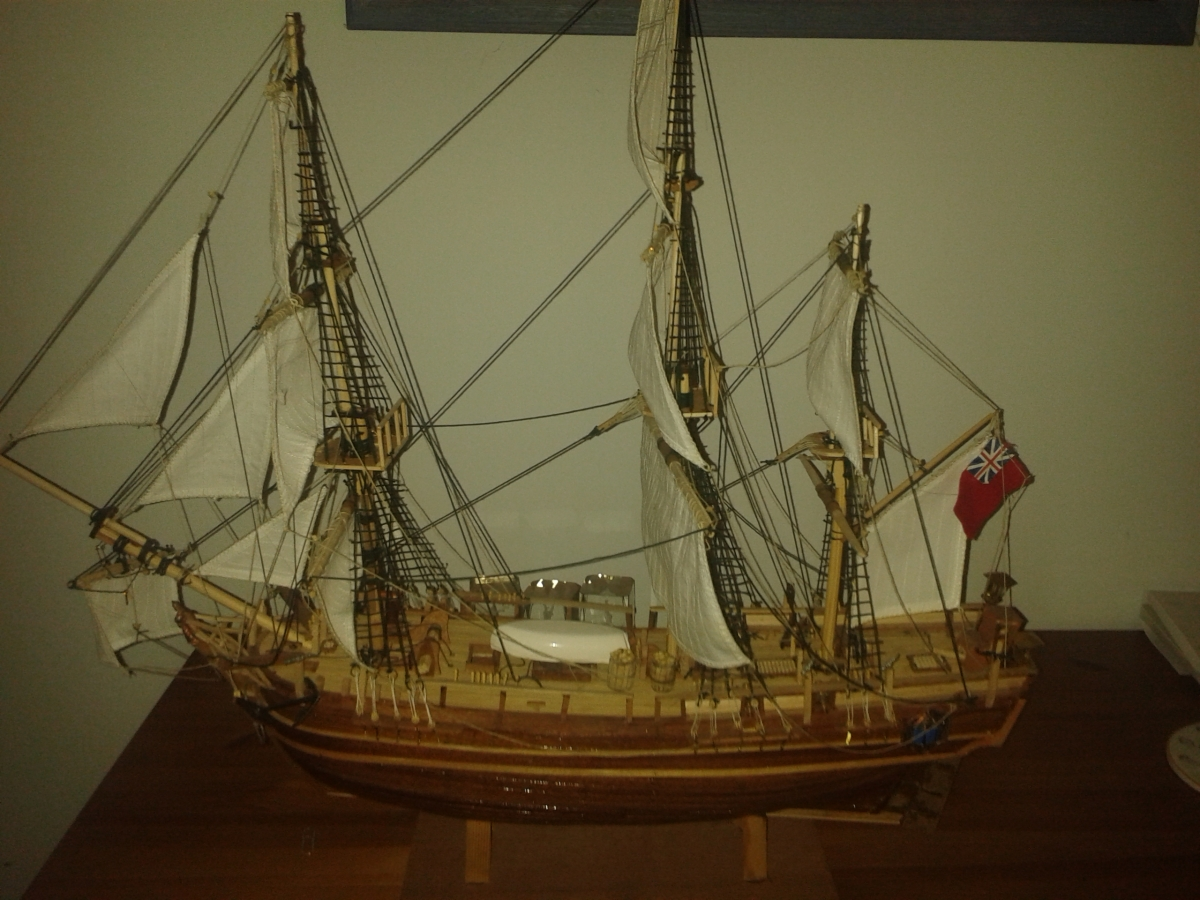Him Indoors spent a year working on this model ship - here's his reward!