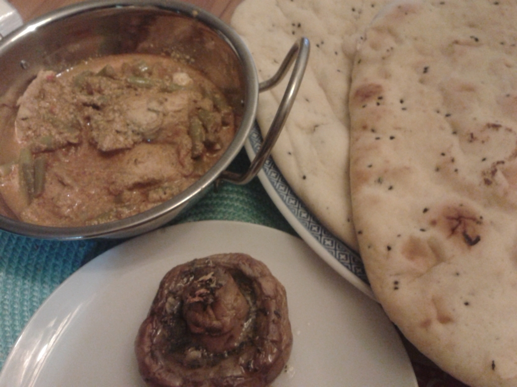 chicken curry, garlic mushroom and naan bread