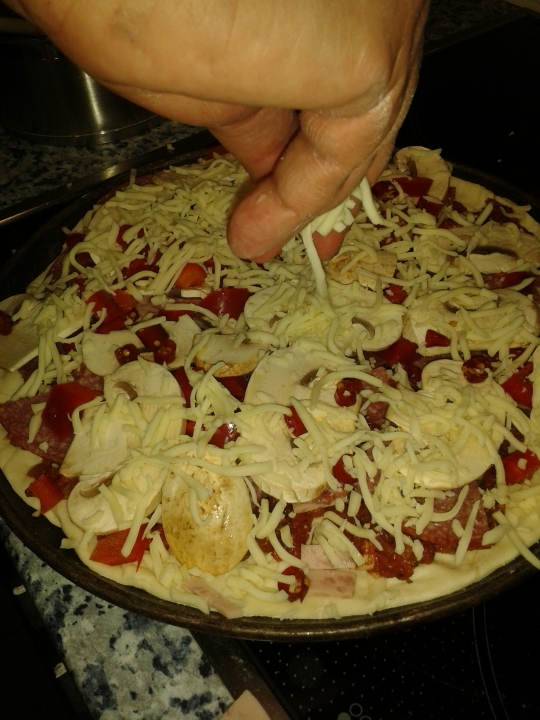 freshly prepared pizza
