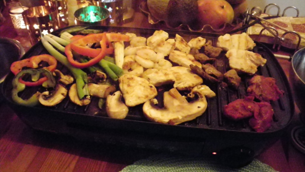 grilled meat and veg
