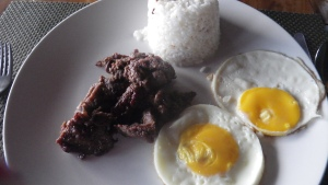 beef tapa, eggs and rice