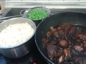 chicken adobo, rice and peas